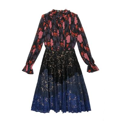 floral frill blouse black & gradation lace skirt